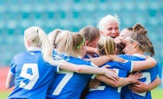 FOTOD | Naiste jalgpallikoondis alistas viieaastase pausi järel Läti, värav otse nurgalöögist