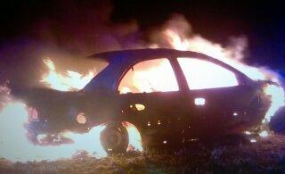 В Тартумаа прямо посреди дороги загорелся автомобиль