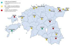 КАРТА | Анализ сточных вод показывает: коронавирус в Эстонии не сдает свои позиции