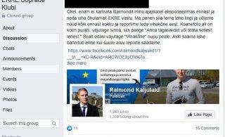 FOTO   EKRE sõprade Facebooki grupis kutsutakse Raimond Kaljulaidi lehte ründama
