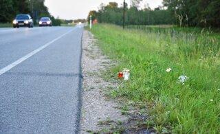 ФОТО: К месту гибели мужчины в Вильяндимаа начали приносить свечи