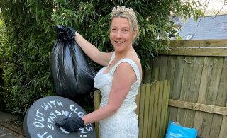 ФОТО | Женщины на карантине начали выносить мусор в нарядных платьях