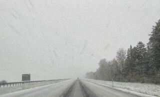 ФОТО | На шоссе Таллинн-Тарту метет метель