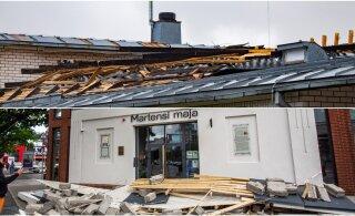 FOTOD | Tormikahjud suvepealinnas: klubil Sunset on pealt kitkutud pool katust ning Martensi majal varises kokku sissepääsuala