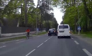 ВИДЕО | В Пирита водитель безрассудным маневром подверг опасности три автомобиля и велосипедиста