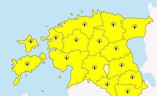 Pane tähele: täna tuleb äikest! Ilmateenistus andis tervele Eestile esimese taseme hoiatuse
