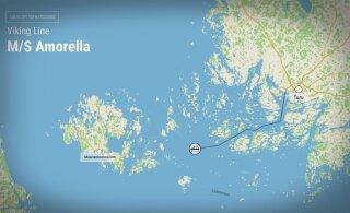 ГРАФИК: Путь Viking Amorella до места, где оно село на мель