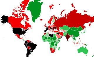 КАРТА   С 1 марта въезд в Эстонию без ограничений разрешен из 8 стран Европы