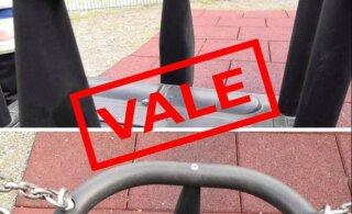 В соцсетях распространяется фото иголок в качелях на детской площадке в Таллинне. Правда ли это?