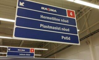 ФОТО: Таблички в Maxima снова выявили недостаточное знание работниками эстонского языка