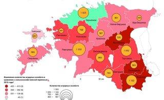 В Эстонии преобладающую часть сельскохозяйственной продукции производят 1300 крупнейших производителей