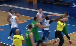 VIDEO | Rusikahoobid, põgenemine ja tagaajamine: Ukraina korvpalliklubide vahel puhkes massikaklus