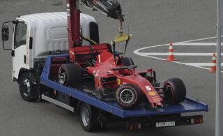 VIDEO | Kvalifikatsioonis seina sõitnud Vettel vabandas Ferrari meeskonna ees
