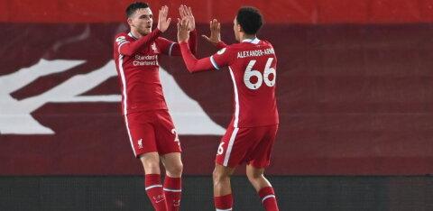 Liverpool võitis liidermeeskondade lahingus Arsenali