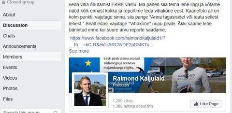 ФОТО | В группе друзей EKRE в Facebook призывают атаковать страничку Раймонда Кальюлайда
