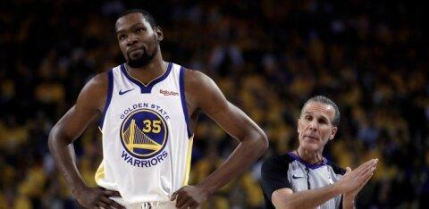 Warriorsi tähtmängija Kevin Durant peab vähemalt finaalseeria algust kõrvalt vaatama