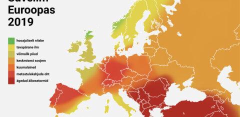 KAART | Vaata, millistes Euroopa osades sellel suvel põletav kuumus ähvardab