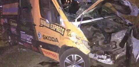 ФОТО: Автобус эстонской команды велосипедистов попал в аварию в Польше