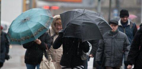 Дожди в Эстонии пока не прекратятся, а в понедельник и вовсе пойдет мокрый снег