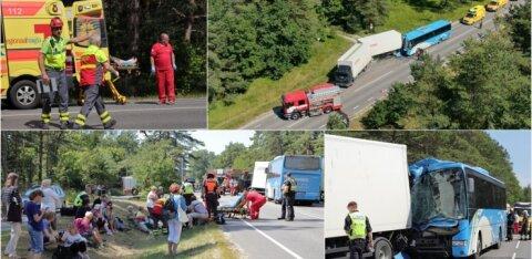ФОТО и ВИДЕО С МЕСТА ПРОИСШЕСТВИЯ | Тяжелая авария на Клоогаранна теэ: в столкновении автобуса и грузовика пострадали 26 человек, двое в тяжелом состоянии