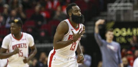 VIDEO | Tõbisena mänginud Harden viskas Rocketsi võidumängus ligi pooled tiimi punktidest