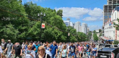 В Хабаровске прошел многотысячный стихийный митинг в поддержку Фургала