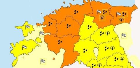 Внимание! Опасная штормовая погода охватит половину территории Эстонии!