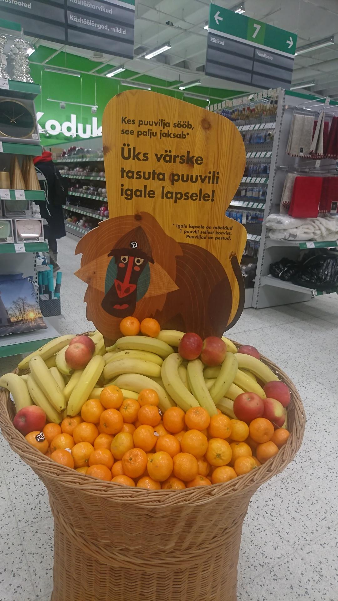 Pühapäevaks oli Mustamäe Prisma lastele mõeldud puuviljavalik taas isuäratav.
