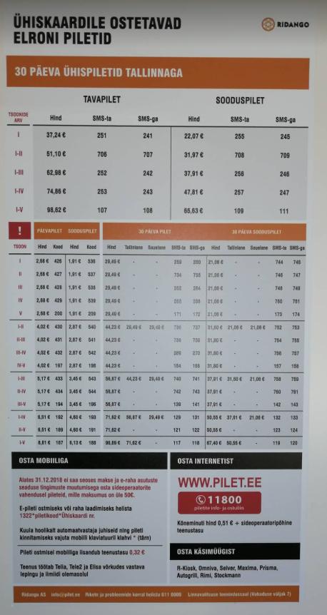 Elroni rongis on võimalik osta mobiiliga ühistranspordi kaardile perioodipileteid ja päevapileteid.