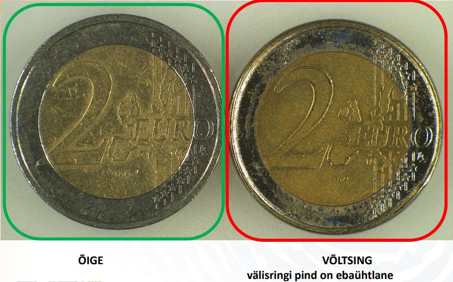 Kuidas eristada võltsitud 2-eurost münti. Allikas: Eesti kohtuekspertiisi instituut