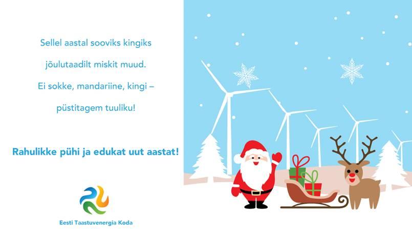 Taastuvenergia koja 2019. aasta pühadetervitused