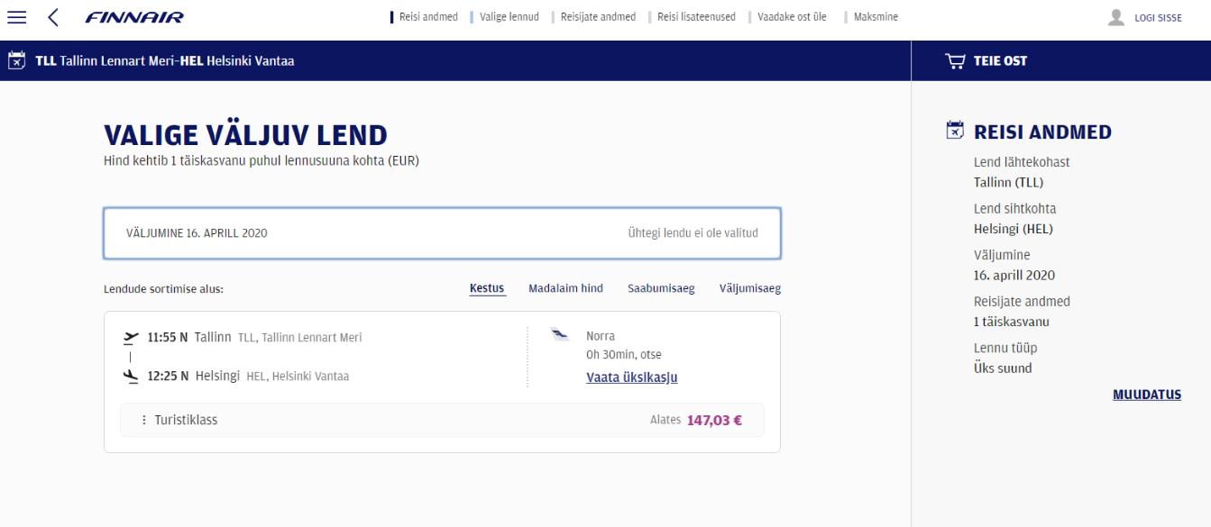 Finnairi piletikeskkond.