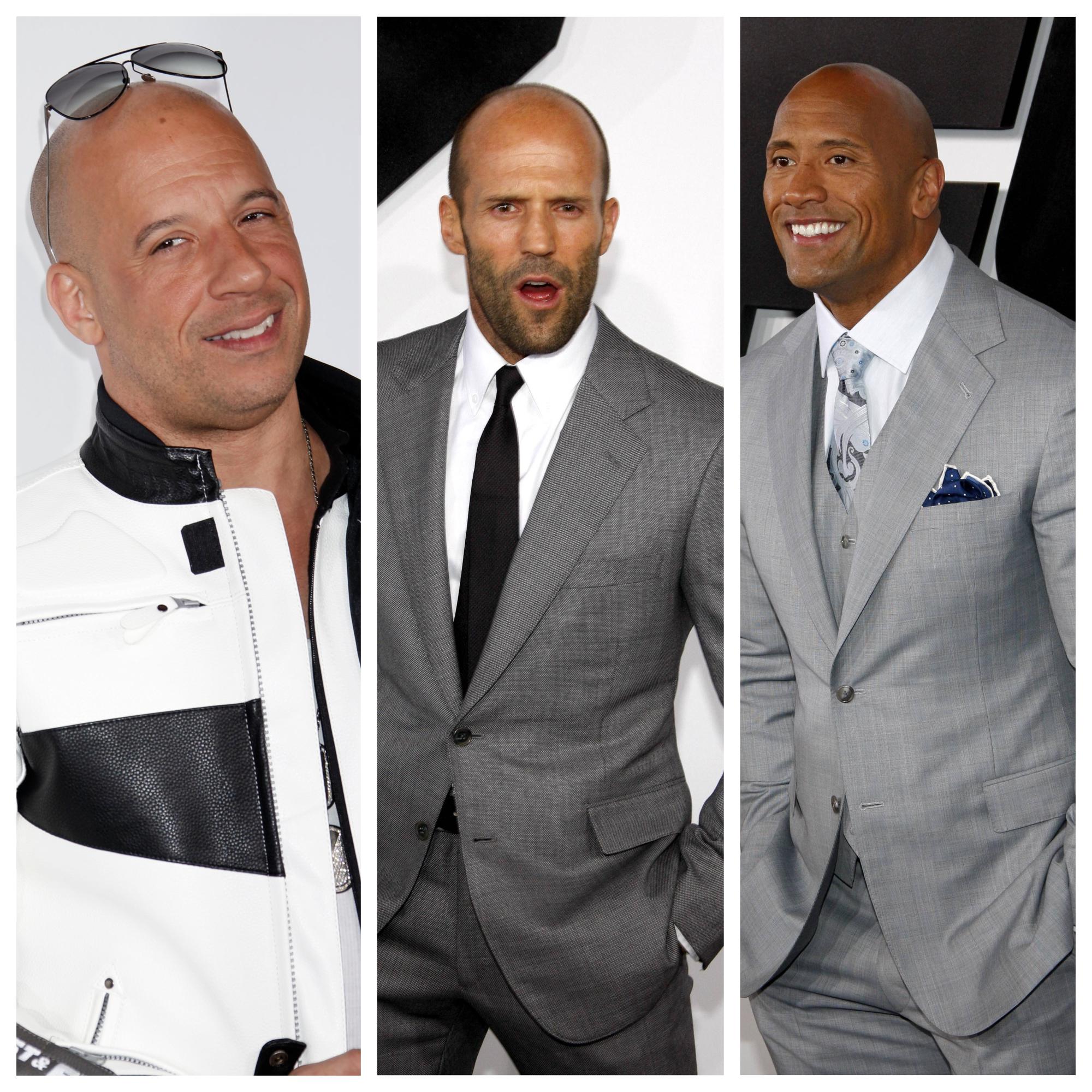 "Vin Diesel, Jason Statham ja Dwayne ""The Rock"" Johnson"