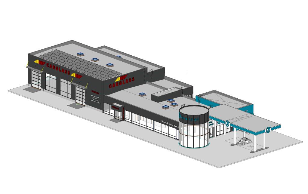 Terminali ja Carglassi esinduse eskiisprojekt.