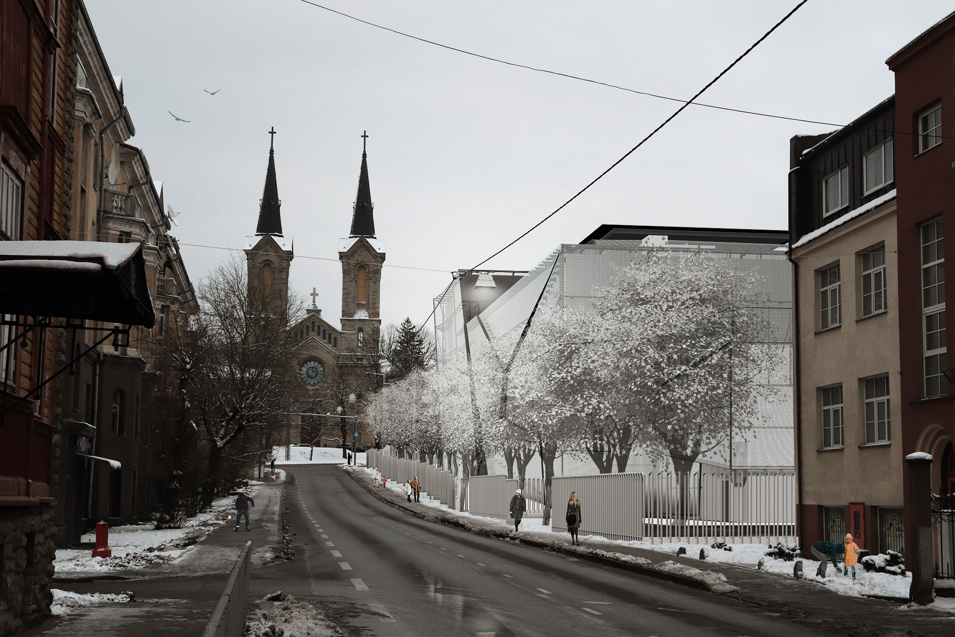 Kapo peahoone pärast uuenduskuuri Luise tänavalt vaadatuna